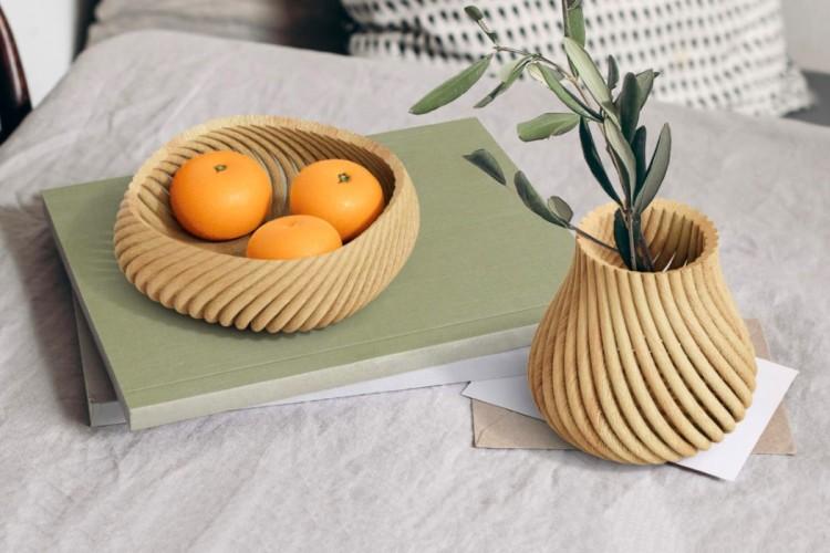 3D printed wood waste homeware Vine
